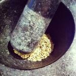 Graines de fenouil au mortier
