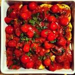 Tomates cerises et jus, vin blanc et huile d'olive
